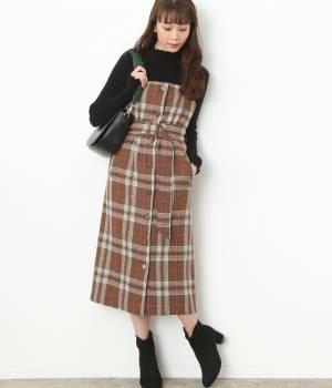ViS - ビス   【予約】ベルト付きチェック柄ジャンパースカート