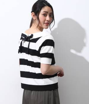 ViS - ビス   【2WAY】オフショルダーリボン半袖プルオーバー