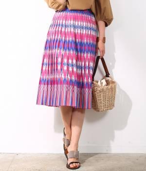 ROPÉ - ロペ | 【トールサイズ】ストライプウォールプリントプリーツスカート