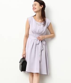 ViS - ビス | ネックレス付きウエストリボンタックドレス