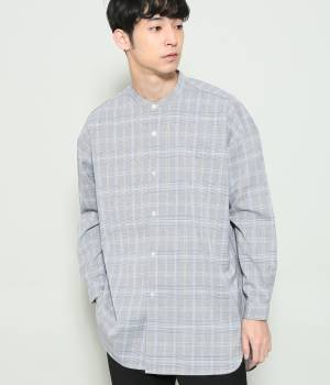 JUNRed - ジュンレッド | グレンチェックバンドカラーロングシャツ