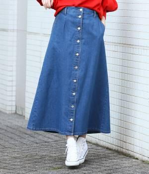 ViS - ビス   【予約】【WEB限定】前釦デニムスカート