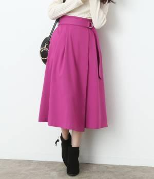 ViS - ビス | ベルト付きラップ風ミモレ丈スカート