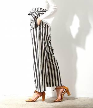 ROPÉ mademoiselle - ロペ マドモアゼル   【先行予約】ストライプラップ風ハイウエストパンツ