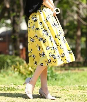 ViS - ビス | 【sweet5月号掲載】ぼかしフラワーミディ丈ギャザースカート