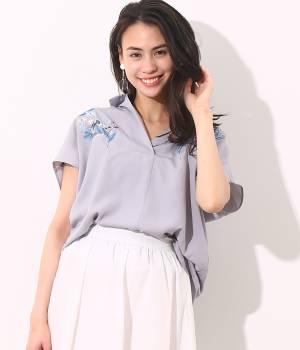 ViS - ビス | カラー刺繍フレンチ袖バックシャン