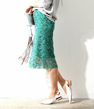 ROPÉ mademoiselle - ロペ マドモアゼル   レースミモレタイトスカート