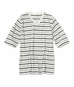 JUNRed - ジュンレッド | 先染めボーダー5分袖Tシャツ