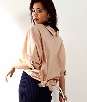 ROPÉ mademoiselle - ロペ マドモアゼル   前後2WAYデザインリボン結びシャツ