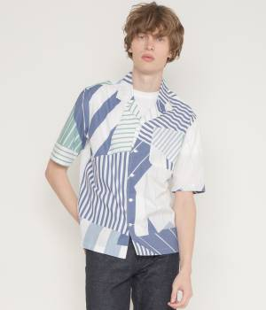 MAISON KITSUNÉ PARIS MEN - メゾン キツネ メン | ALL-OVER PATCHED STRIPES SHIRT