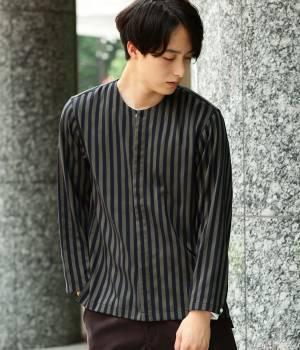 JUNRed - ジュンレッド | シャインストライプノーカラーシャツ