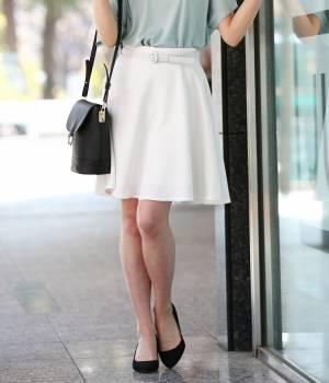 ViS - ビス | 【WEB限定着丈が選べる】ベルト付きフレアースカート