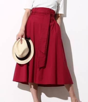 ViS - ビス | カラーハイウエストミモレ丈スカート