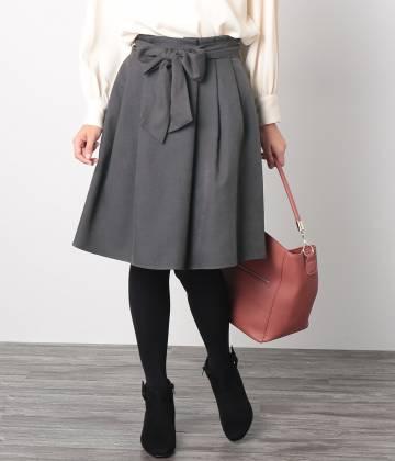 ROPÉ PICNIC - ロペピクニック   【WEB限定42サイズ】ウエストベルトタックフレアスカート