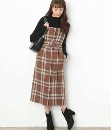 ViS - ビス | ベルト付きチェック柄ジャンパースカート