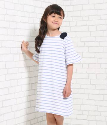 ROPÉ PICNIC KIDS - ロペピクニック キッズ | 【TIME SALE】【ROPE' PICNIC KIDS】天竺ボーダー肩リボンワンピース