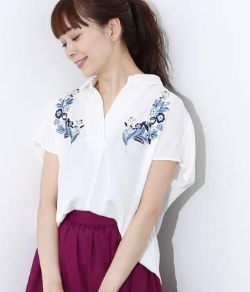 ViS - ビス | カラー刺しゅうフレンチ袖バックシャン