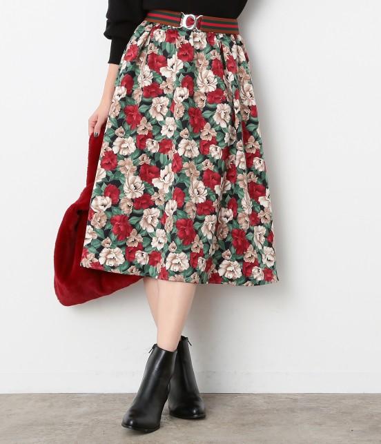 ビス | 【sweet11月号掲載】【sweet×ViSコラボ】フラワープリントスカート | ブラック系