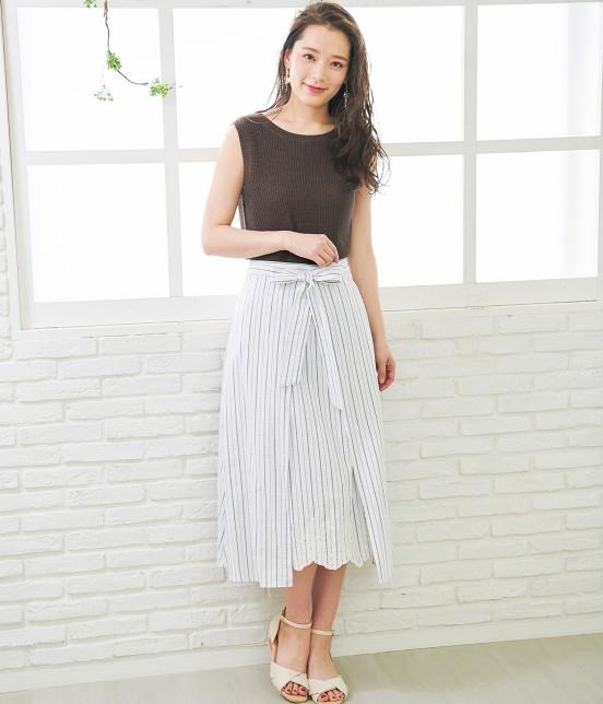 ロペピクニック   【50TH SPECIAL COLLECTION】無地/ストライプ裾刺繍スカート - 15