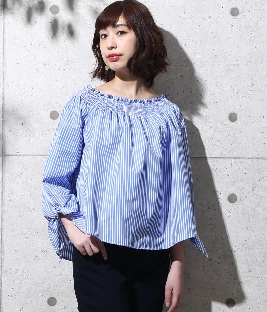 ロペピクニック   【2WAY】シャーリングスモックリボンブラウス   ブルー系