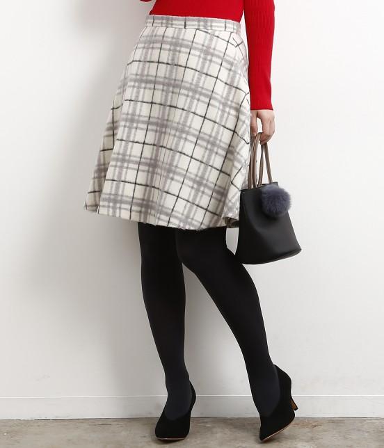 ロペピクニック | 立体シャギーチェックフレアースカート