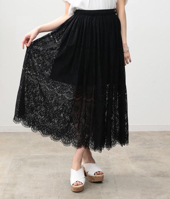 ビス | ヒゲレースロングスカート | ブラック