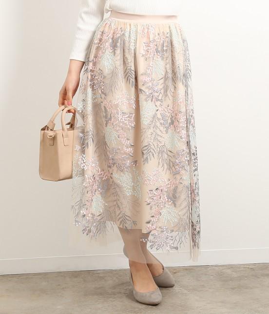 ロペピクニック | 刺繍チュールスカート | オフホワイト
