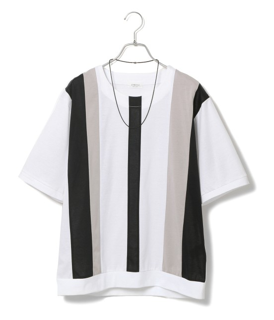 ジュンレッド | 【TIME SALE】パネルストライプ半袖Tシャツ | ブラック系