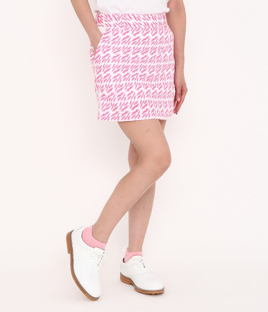 ジュン アンド ロペ | 【吸水速乾】リーフ総柄プリントキュロットスカート | ピンク