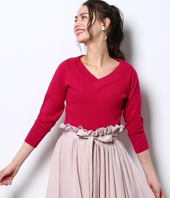 ロペピクニック | 綿100%製品染めリブ編みプルオーバー | ピンク系