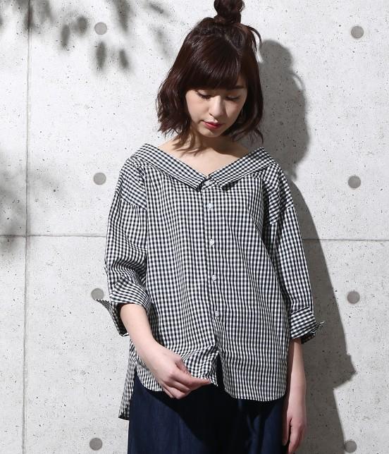 ロペピクニック | 【2WAY】先染め七分袖シャツ | ブラック