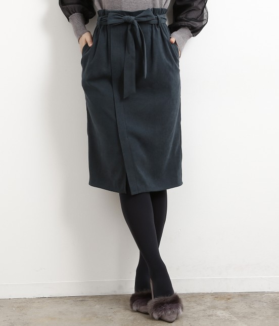 ロペピクニック   【新色追加】【HAPPY PRICE】ベロアタッチアイラインスカート   ダークグリーン