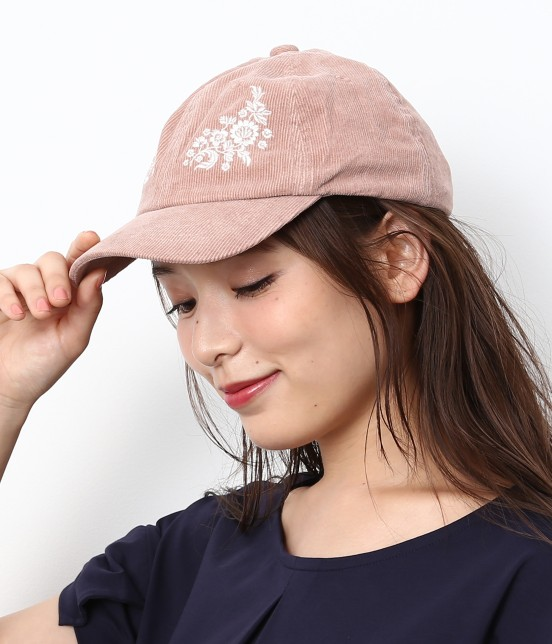 ロペピクニックパサージュ | 細コーデュロイフラワー刺繍キャップ | ピンク