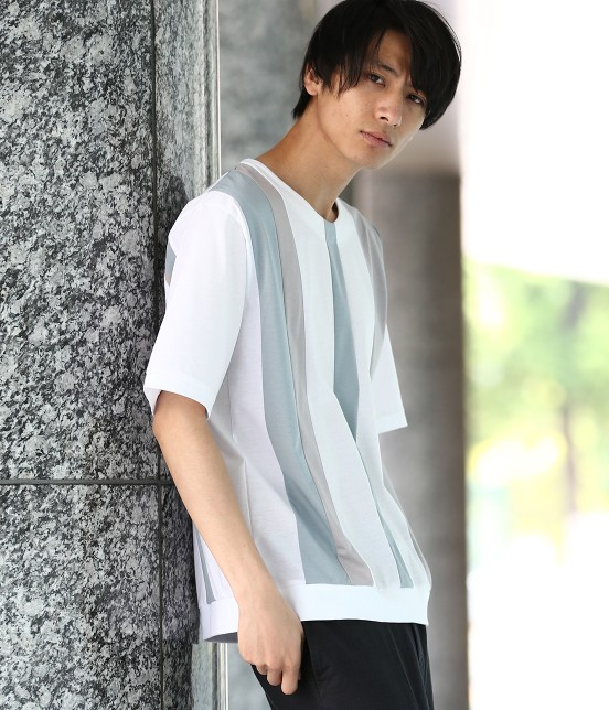 ジュンレッド | 【TIME SALE】パネルストライプ半袖Tシャツ - 12