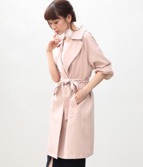 ビス | 【花粉ガード】【2WAY】襟取り外しガウンコート | ピンク