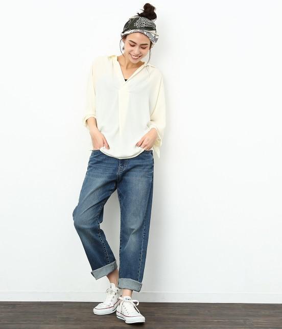 ロペピクニック | 7分袖ヒラリボンムジシャツ - 7