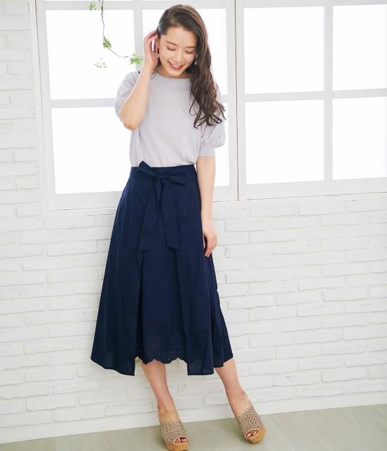 ロペピクニック   【50TH SPECIAL COLLECTION】無地/ストライプ裾刺繍スカート - 17