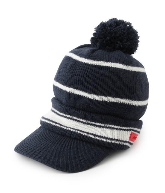 ジュン アンド ロペ | つば付きライン入りニットポンポン帽 | ネイビー