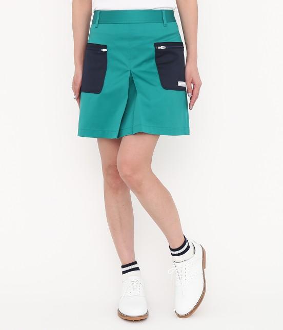 ジュン アンド ロペ | 【透け防止】【吸水速乾】【UVカット】配色ポケットボックスプリーツスカート | グリーン