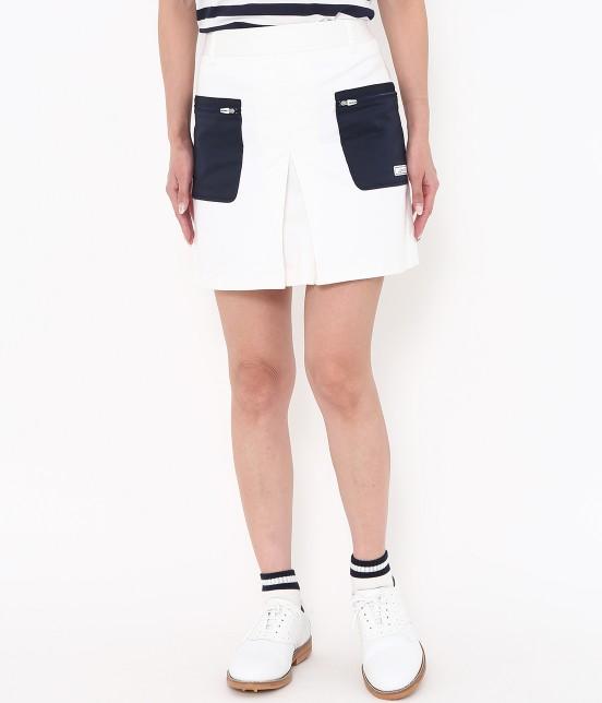 ジュン アンド ロペ | 【透け防止】【吸水速乾】【UVカット】配色ポケットボックスプリーツスカート | ホワイト