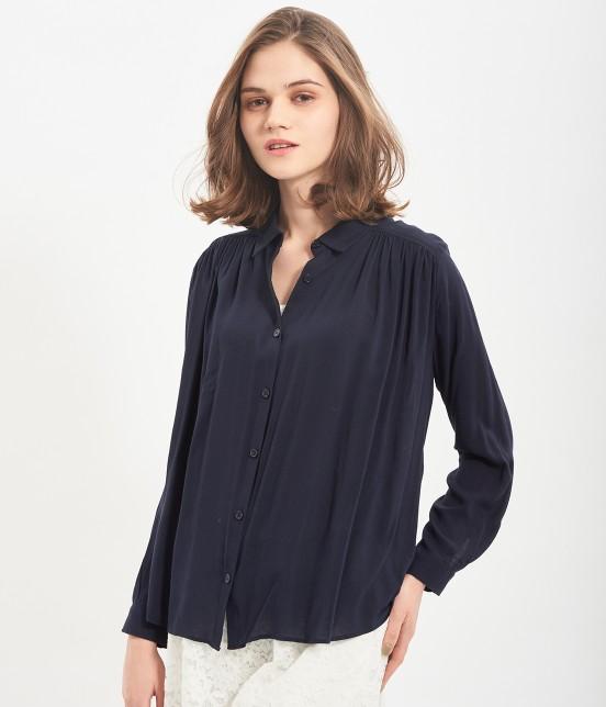 ビス | レーヨンギャザーシャツ | ネイビー