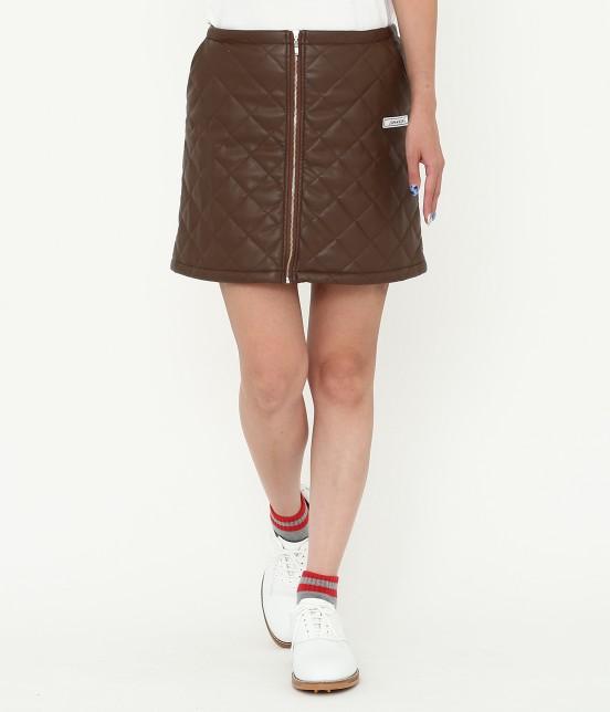 ジュン アンド ロペ   フェアリーレザーチョコレートキルトスカート   ダークブラウン