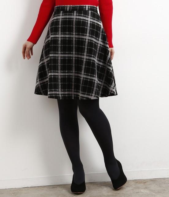 ロペピクニック | 立体シャギーチェックフレアースカート | ブラック