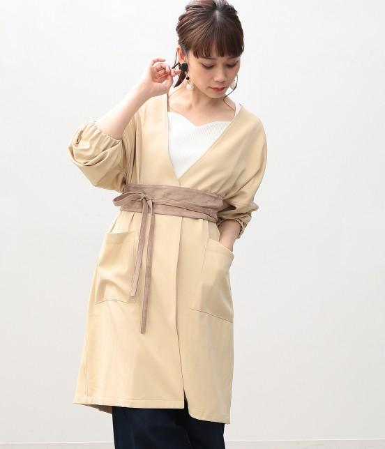 ビス | タックボリューム袖コート | ベージュ