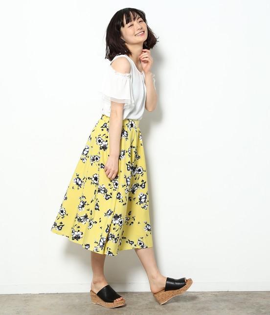 ビス | 【sweet5月号掲載】ぼかしフラワーミディ丈ギャザースカート - 7