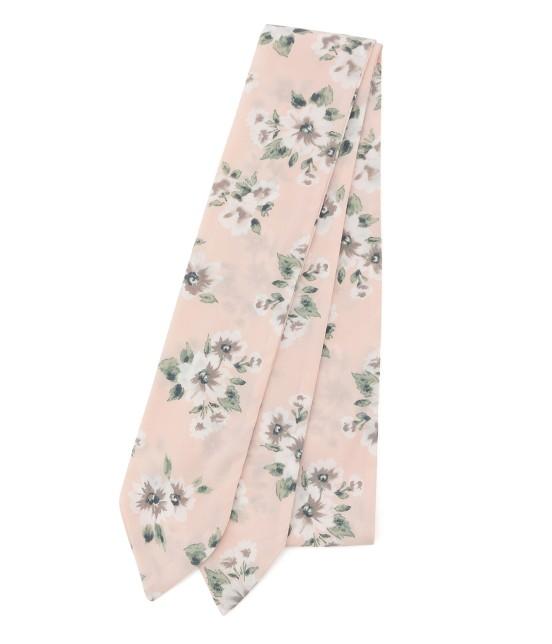 ビス   花柄ナロースカーフ   ピンク