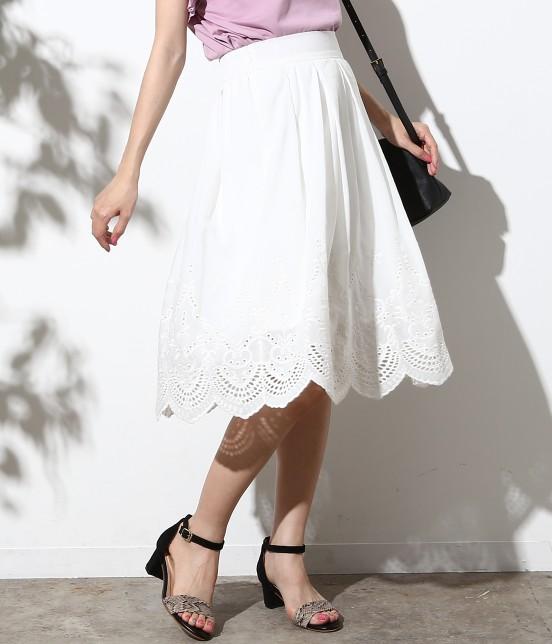 ロペピクニック   スカラップ刺繍スカート   ホワイト