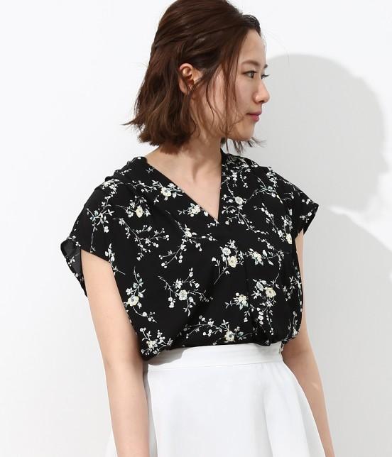 ビス | フラワープリントスキッパーシャツ | ブラック系