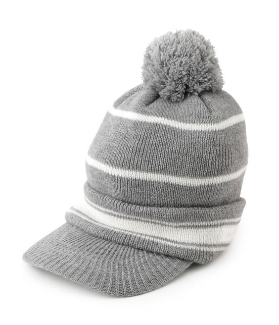 ジュン アンド ロペ | つば付きライン入りニットポンポン帽 | グレー
