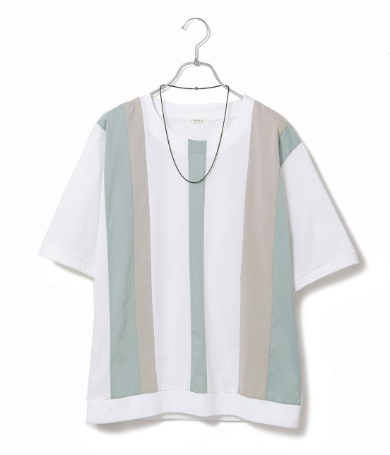 ジュンレッド | 【TIME SALE】パネルストライプ半袖Tシャツ | ブルー系